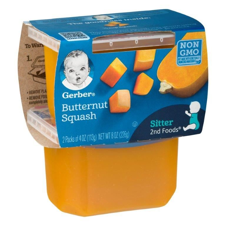 Gerber 2nd Foods Butternut Squash Baby Food, 2 ct, 4 oz