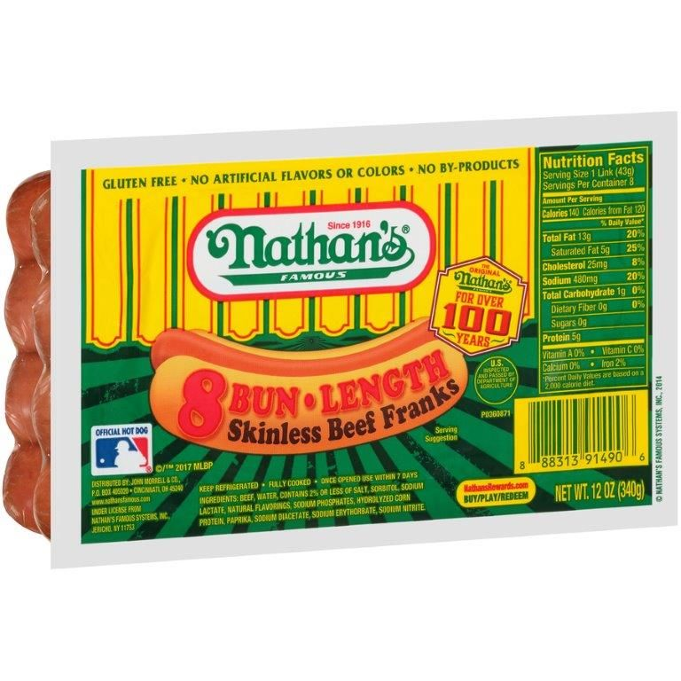 Nathan's Famous Beef Franks, 12 oz.