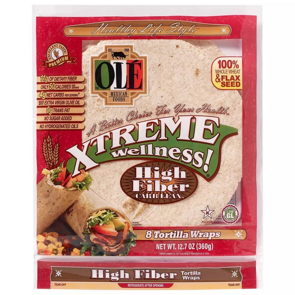 Ole Xtreme Wellness! High Fiber Low Carb Tortilla Wraps, 8ct