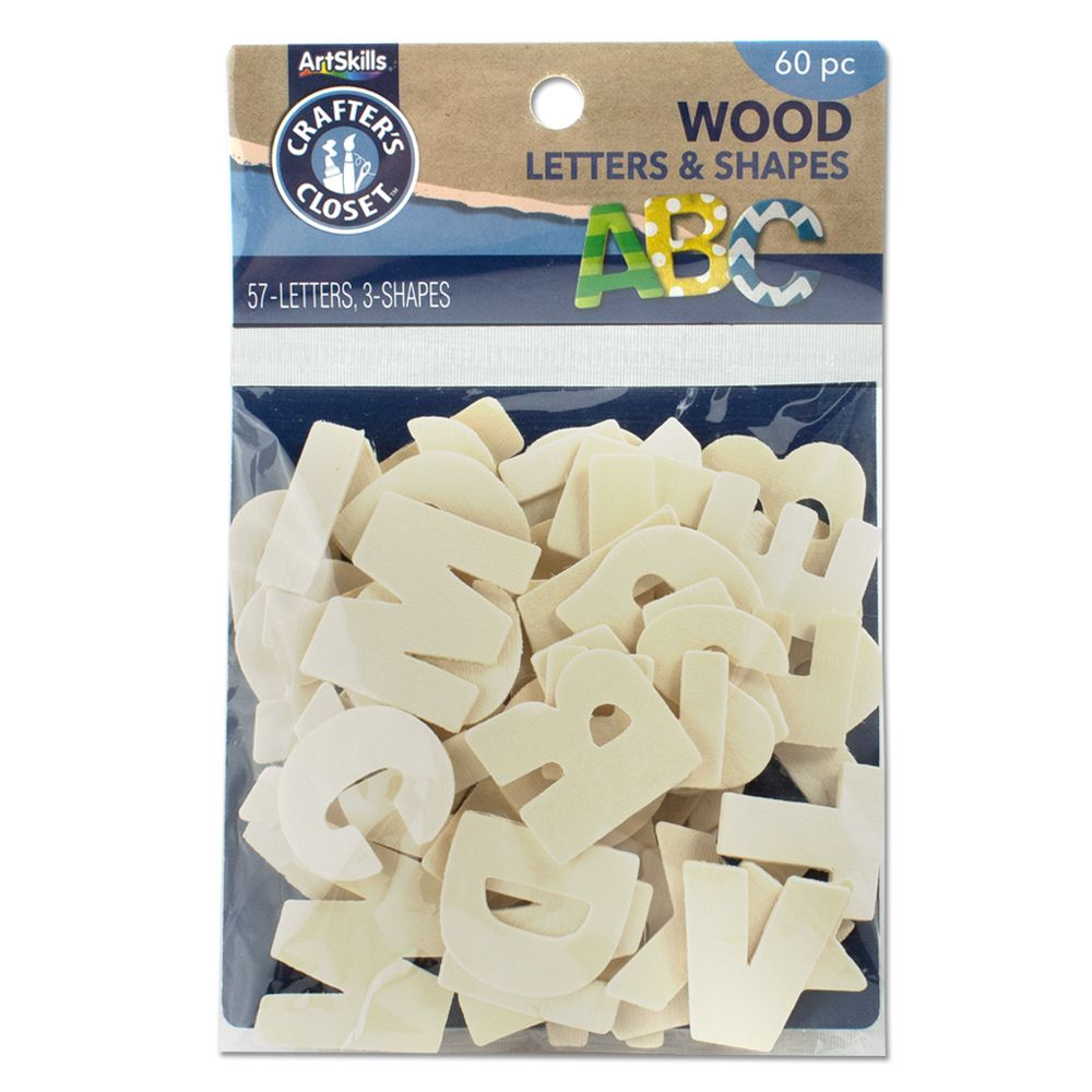 ArtSkills Crafters Closet Unfinished Wooden Letters, 60 count - Assorted