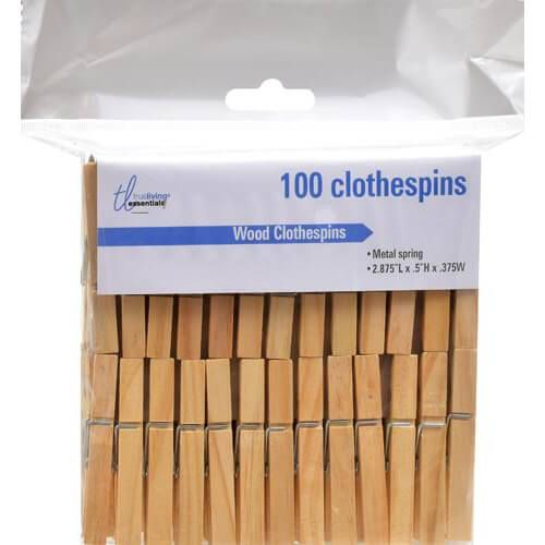 TrueLiving Wood Clothespins, 100 ct