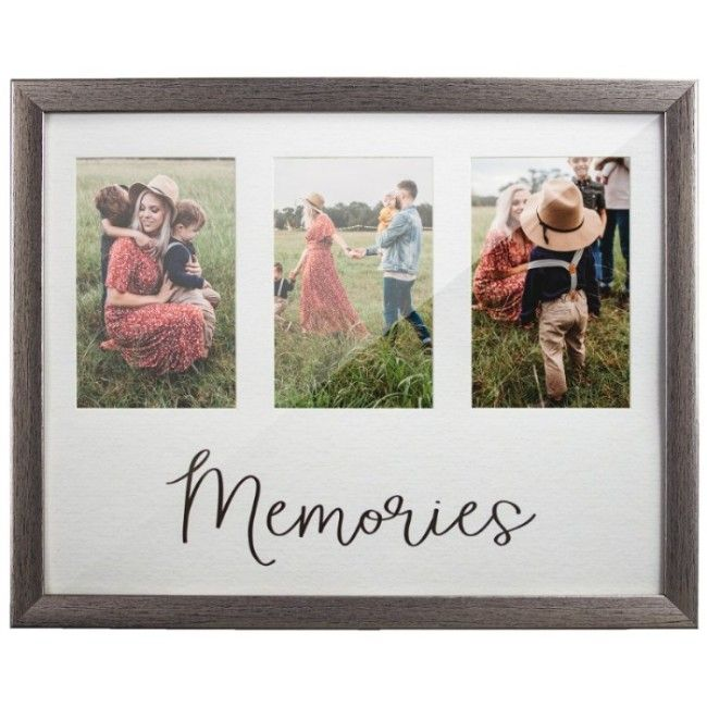 """""""Memories"""" 3 Picture/Photo Frame Holder, Silver, 11.75in x 14.75in"""