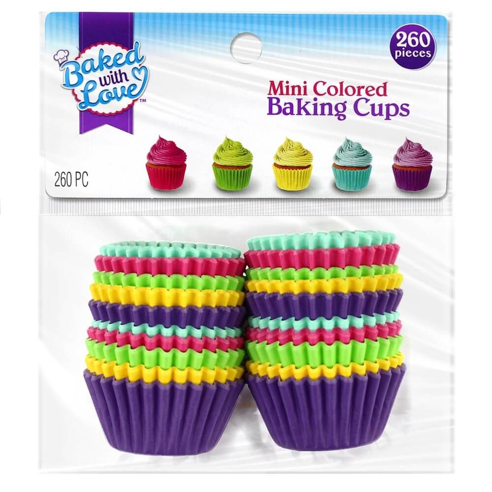 Baked with Love Mini Colored Baking Cups