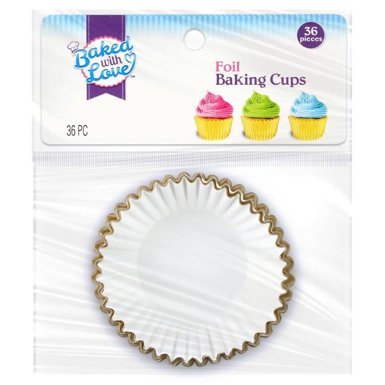 Baked with Love Cupcake Liner, Gold Foil, 35 ct