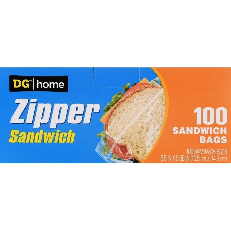 DG Home Zipper Sandwich Bag, 100 ct