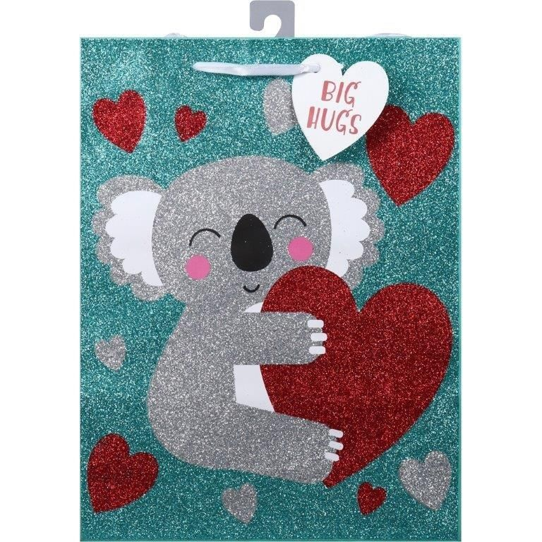 Valentine's Day Large Glitter Gift Bag - Assorted