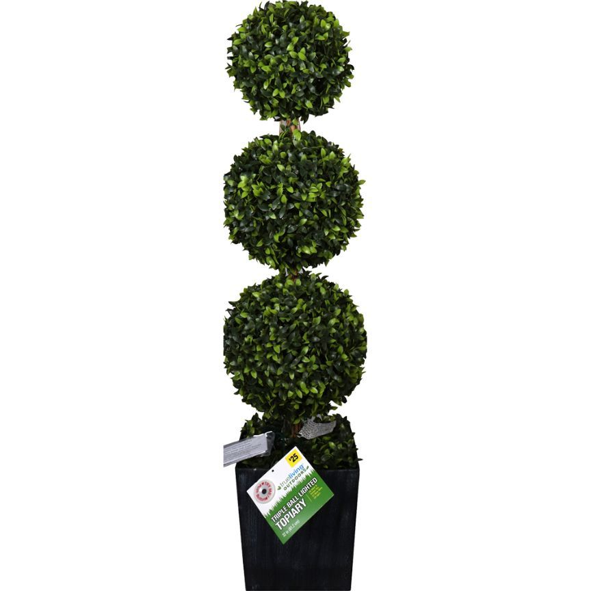 True Living Outdoors Triple Ball Lighted Topiary, 1 ct