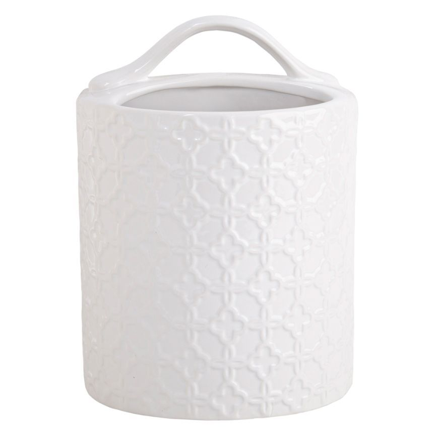 White Embossed Sectioned Ceramic Caddy
