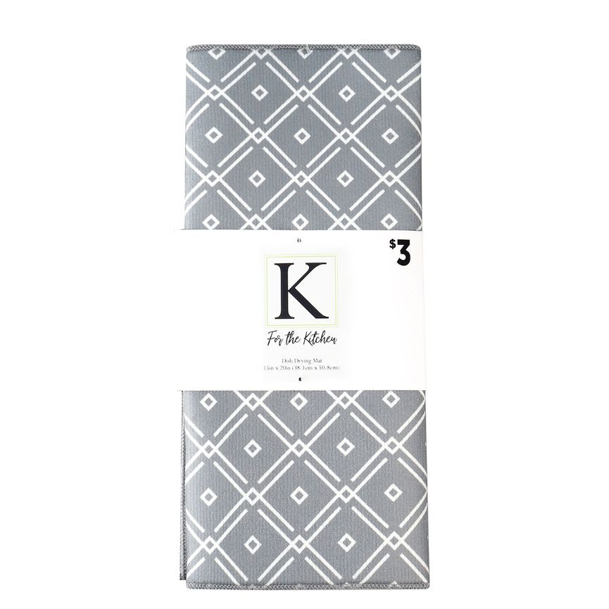 For The Kitchen Dish Drying Mat - Grey Diamond Deco