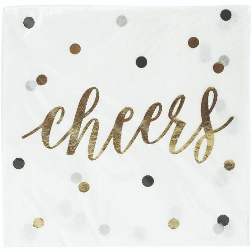 "321 Party! Beverage Napkins - Foil ""Cheers"", 16 ct"