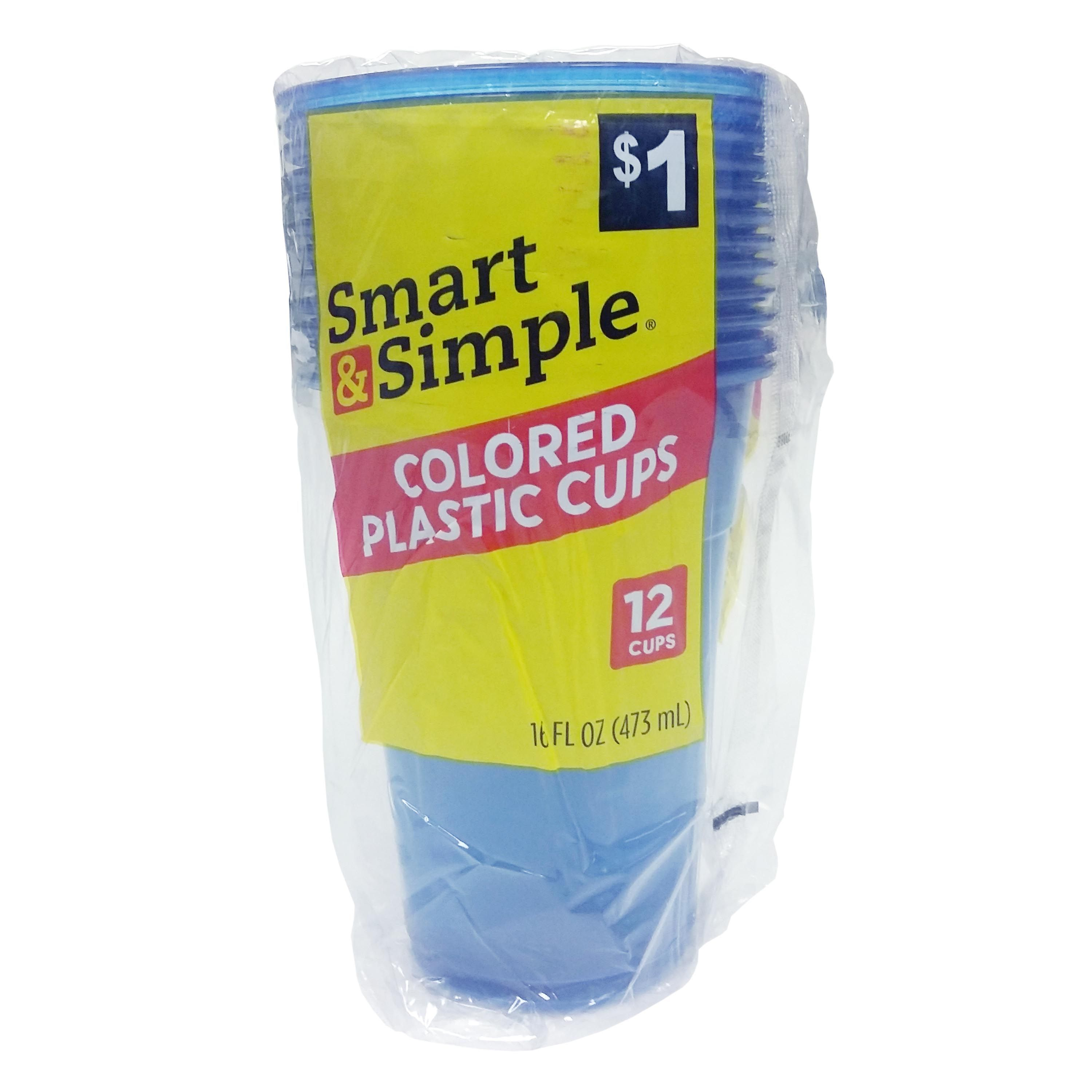 Smart & Simple - Colored Plastic Cups, 12 Ct.