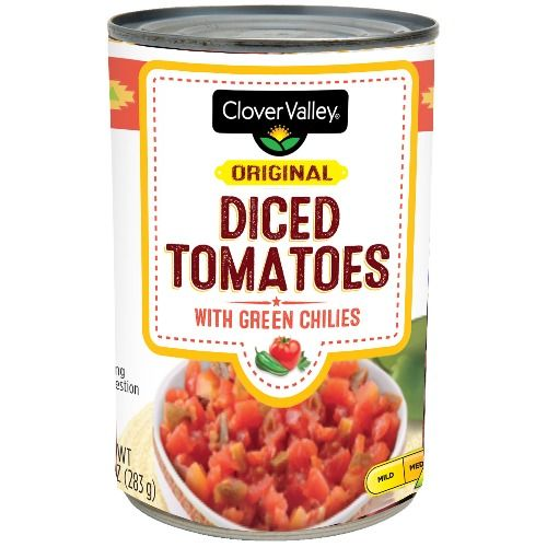 Clover Valley Diced Tomatoes with Green Chilies, 10 oz