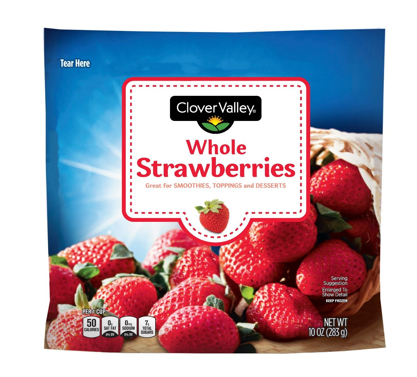 Clover Valley Whole Strawberries, 10 Oz.