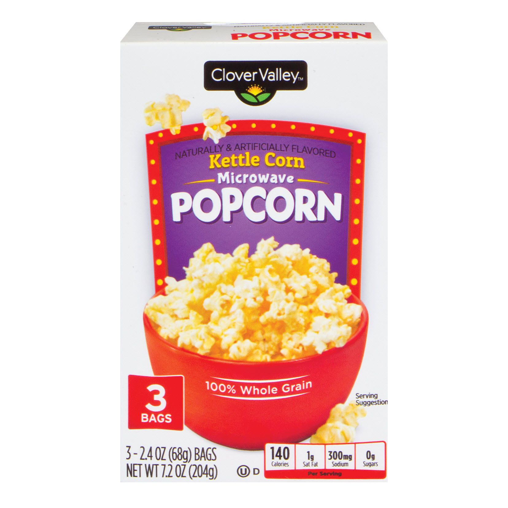 Clover Valley Kettle Corn Microwave Popcorn, 3 Pack