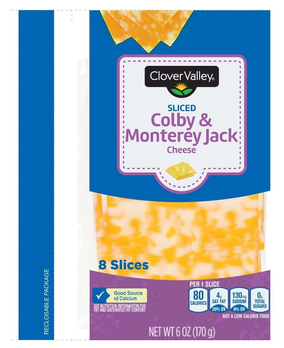 Clover Valley Sliced Colby Jack Cheese, 6 Oz.