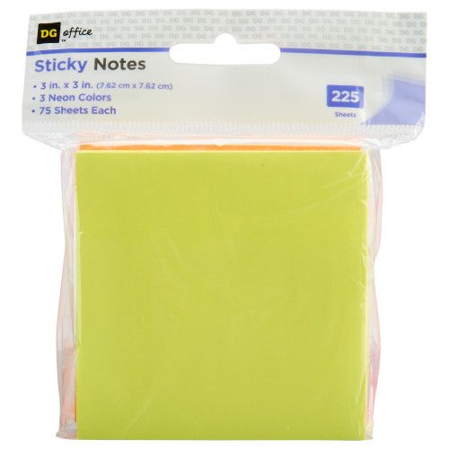 DG Office Sticky Notes - 3in x 3in - 225 sheets