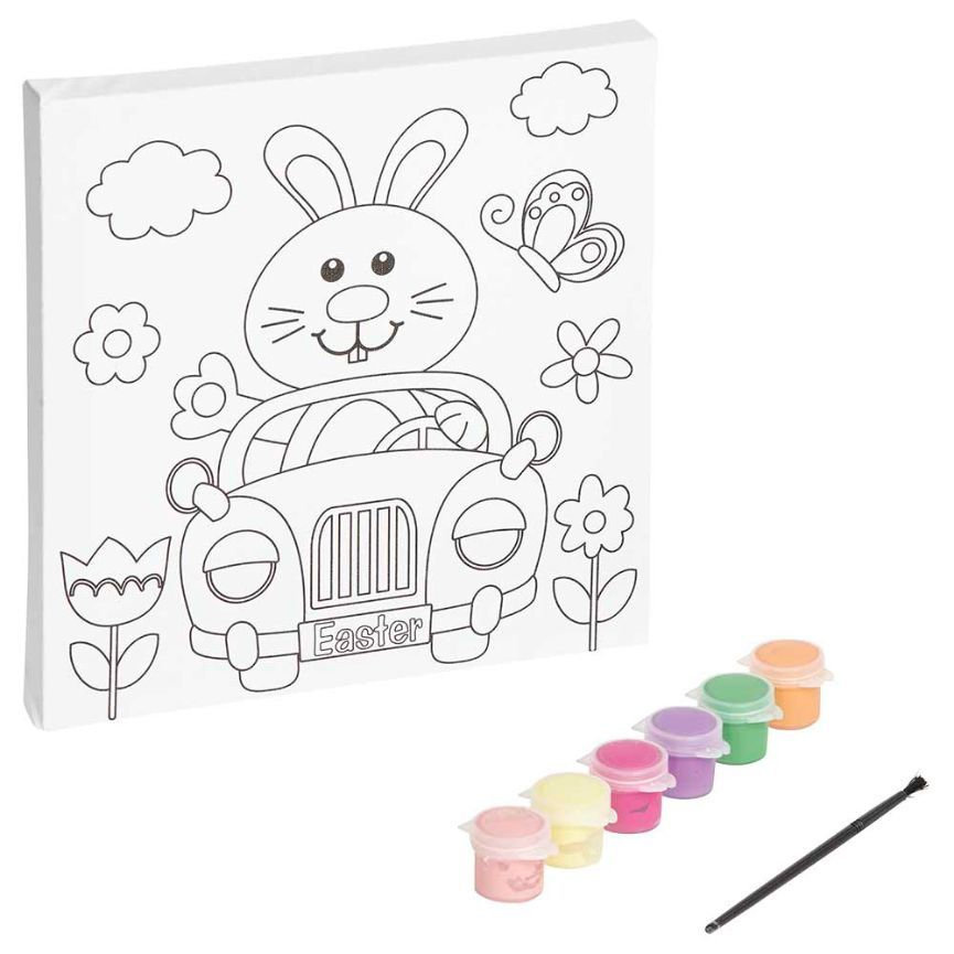 Happy Easter Crafts Paint Your Own Canvas - Assorted, 8 pc