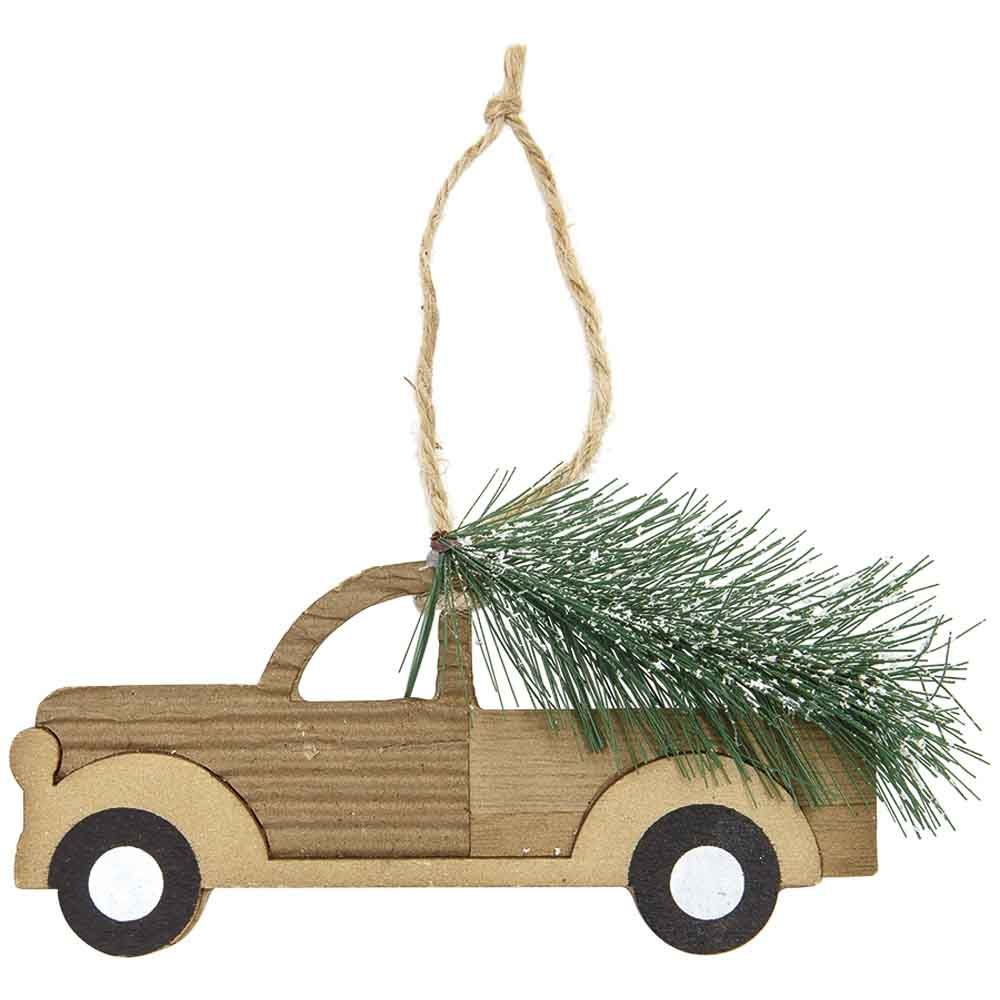 Wooden Truck with Tree Christmas Ornament - Assorted