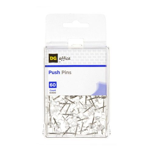 DG Office Clear Push Pins - 60 ct