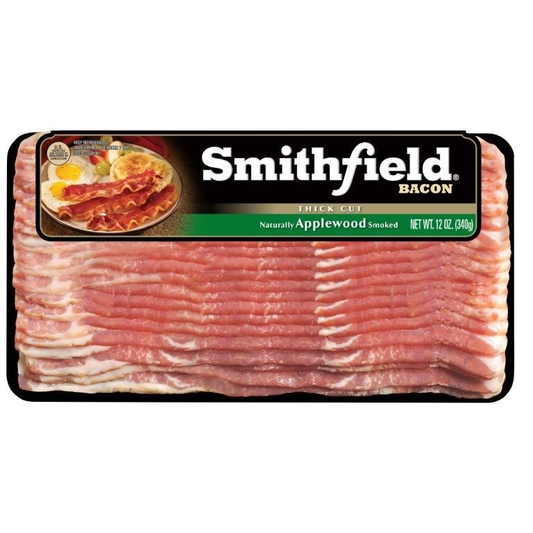 Smithfield Naturally Applewood Smoked Bacon, Thick Cut, Gluten Free, Ready to Cook, Made with Sea Salt, 12 Ounces